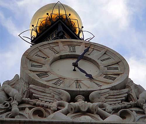 Famous Puerta del Sol Clock in Madrid