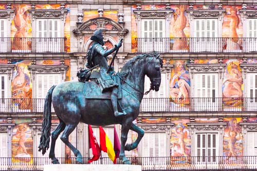 Felipe III equestrian statue in Plaza Mayor Madrid