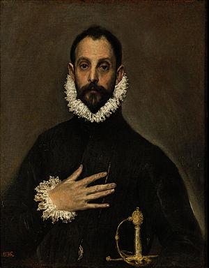 El Caballero con la mano en el pecho, by El Greco