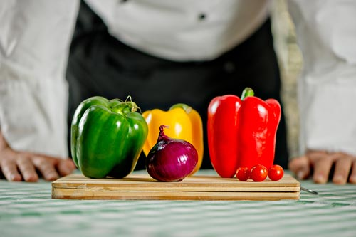 Cooking surface with vegetables
