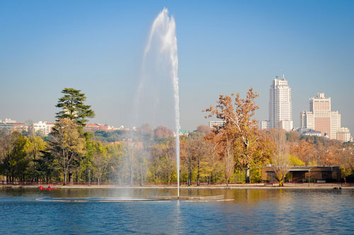 Madrid from Casa de Campo Lake