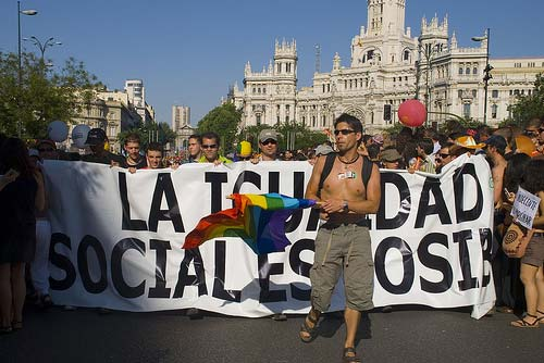 People vindicating the rights of the LGBT community in Madrid