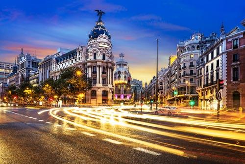 Grand Vía Madrid at night