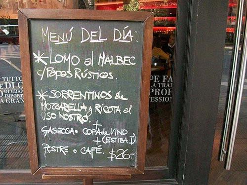 Blackboard with a restaurant menu in Madrid