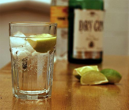 A glass with gin and tonic and some lemons