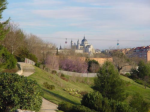 Royal Palace and Madrid cable car views from Parque del Oeste